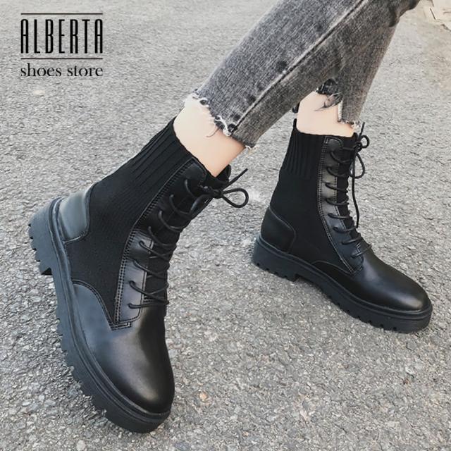 【Alberta】休閒鞋-編織拼接皮質鞋面 率性簡約款 繫帶短靴 英倫風馬丁靴