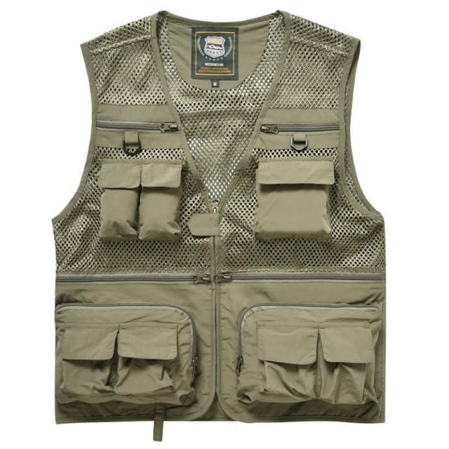 【PUSH!】戶外休閒用品多功能16口袋背心夾克戶外攝影釣魚馬甲背心(F26卡其)