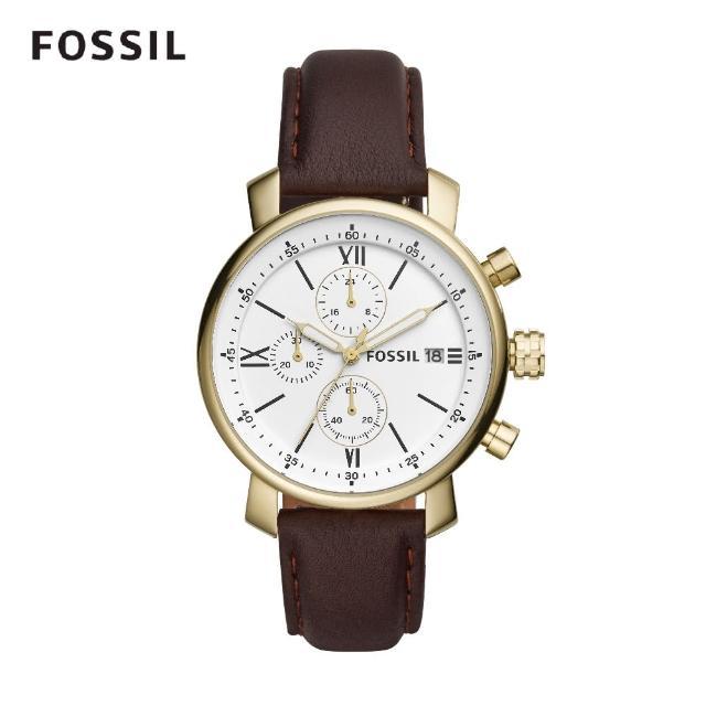 【FOSSIL】Rhett 造型三眼計時深褐色皮革手錶 42mm BQ1009