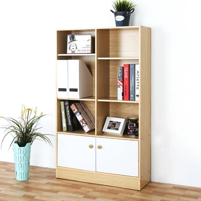 【Homelike】拜爾八格二門書櫃(楓木+白色)