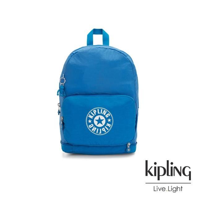 【KIPLING】復古藍搶眼大LOGO二合一後背側背包-CLASSIC NIMAN FOLD