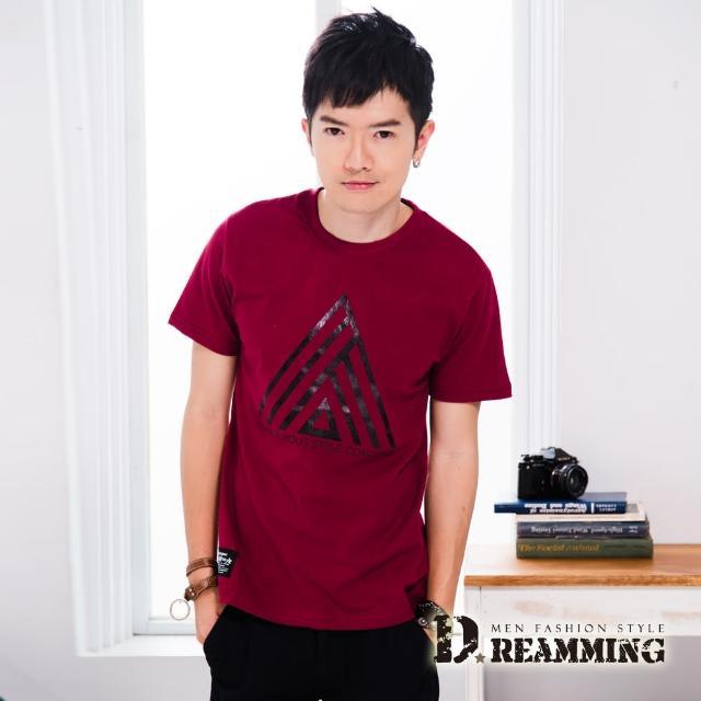 【Dreamming】韓系潮流幾何三角圖騰圓領短T(共三色)