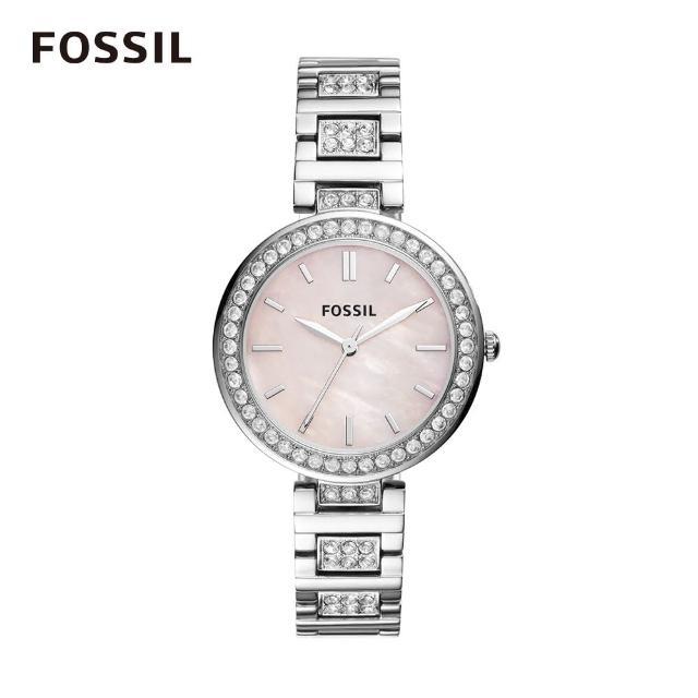 【FOSSIL】Karli 粉紅鑲鑽鍊錶 34mm  女 BQ3182