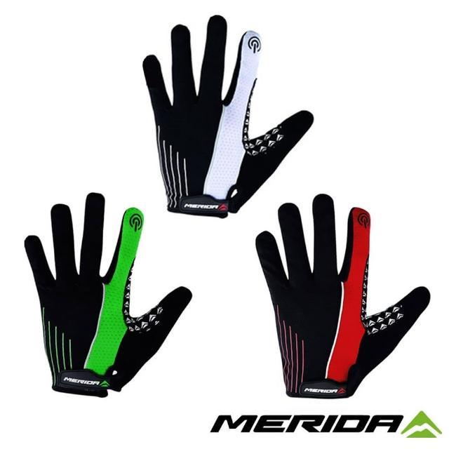【MERIDA 美利達】自行車觸控式長指手套(單車/透氣/防滑/吸震)