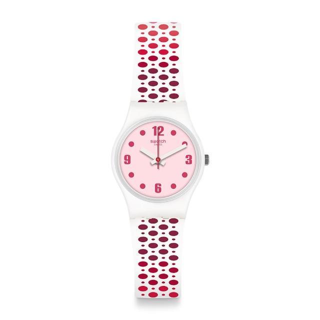【SWATCH】Transformation系列手錶 PAVERED 粉紅足跡(25mm)