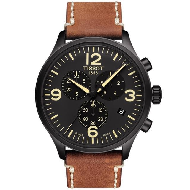 【廣告款 TISSOT】天梭 韻馳系列 Chrono XL計時手錶-黑x咖啡/45mm(T1166173605700)