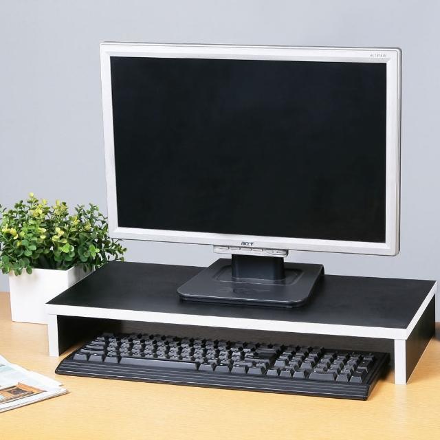 【Homelike】簡約木製桌上螢幕架(黑色)