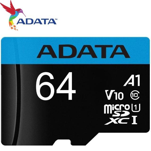 【ADATA 威剛】64GB 100MB/s microSDXC TF UHS-I U1 A1 V10 記憶卡