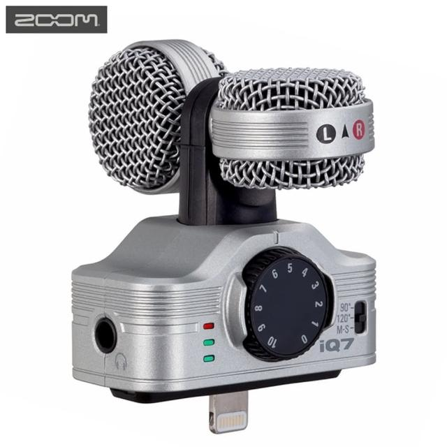 【ZOOM】銀色iQ7立體聲數位錄音麥克風(適iPhone iPad iPod 7 7+ 6 6+ SE 5s 5c)