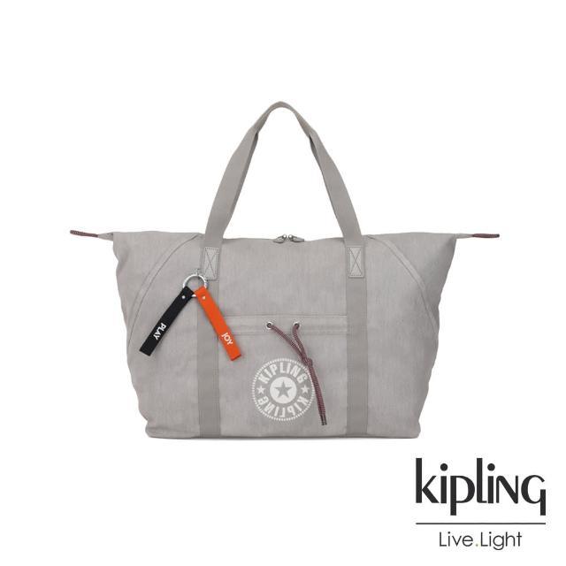 【KIPLING】Blank Canvas系列棉質丹寧淺灰手提側背包-ART M