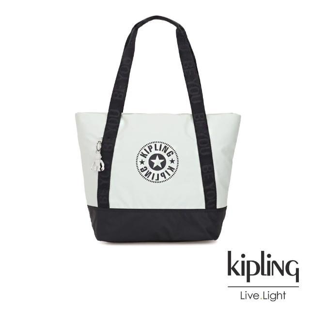 【KIPLING】渡假海灘風黑白撞色復古休閒LOGO肩背托特包-SIDRA
