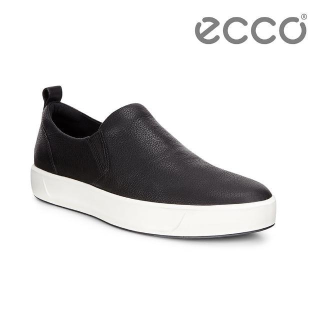 【ECCO】SOFT 8 MENS 簡約懶人休閒鞋(黑 44052401001)