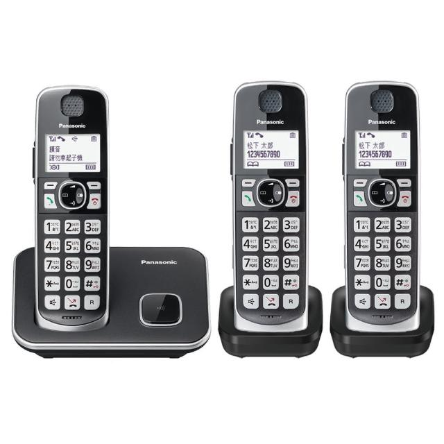 【Panasonic 國際牌】KX-TGE613TW中文數位大字鍵三話機無線電話(加送史努比湯杯)