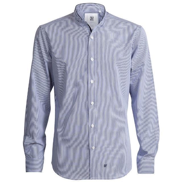 【CR7 CRISTIANO RONALD 西羅】Slim Fit 條紋立領修身版襯衫-藍(8635-7200-312)