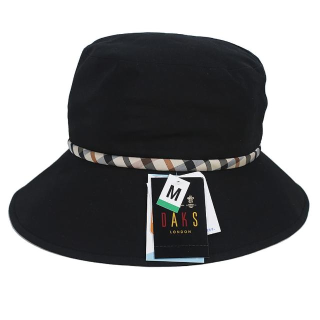 【DAKS】抗UV防潑水格紋漁夫帽(黑色)