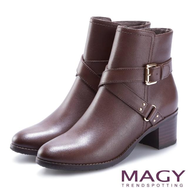 【MAGY】紐約時尚步調 交叉皮帶牛皮粗跟短靴(咖啡)