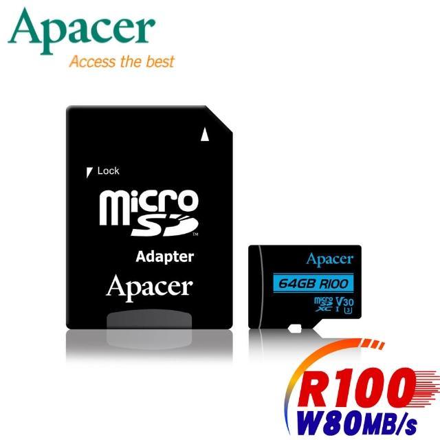 【Apacer 宇瞻】64GB MicroSDXC R100/W80MB UHS-I U3(V30 4K記憶卡-速達)