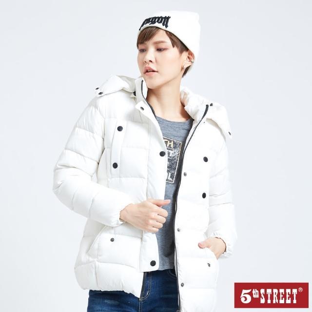 【5th STREET】女可束腰羽絨外套-白色