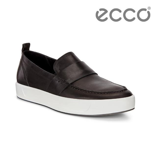 【ecco】SOFT 8 M 簡約套入式休閒鞋 男(黑 44070401001)