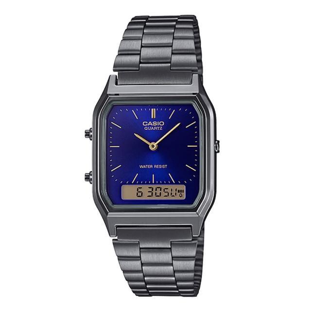 【CASIO 卡西歐】CASIO 復古雙顯錶 不鏽鋼錶帶 深海藍 生活防水 兩地時間(AQ-230GG-2A)
