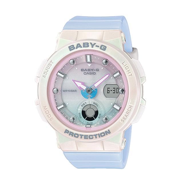【CASIO 卡西歐】BABY-G 海洋風情雙顯女錶 樹脂錶帶 淡粉藍 防水100米(BGA-250-7A3)
