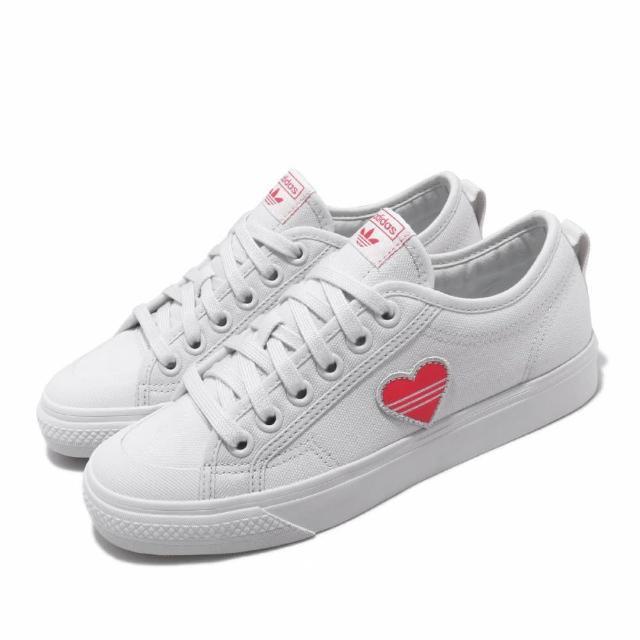 【adidas 愛迪達】休閒鞋 Nizza Trefoil W 復古 女鞋 愛迪達 三葉草 愛心 情人節 球鞋穿搭 白 粉(EF5074)