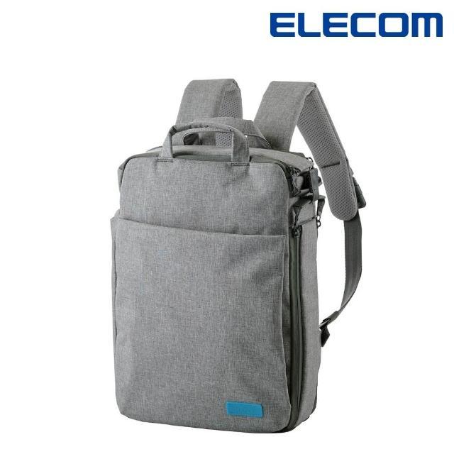 【ELECOM】帆布多功能3WAY薄型後背包OF01-灰(BM-OF01GY)