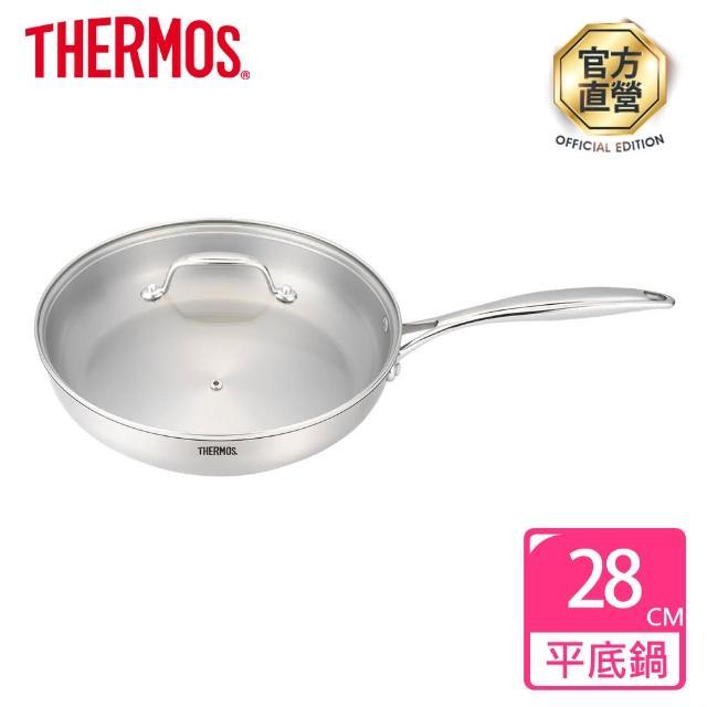 【膳魔師 贈分層隔溫碗一個】晶透不鏽鋼附蓋平底鍋28cm(SF-F28)