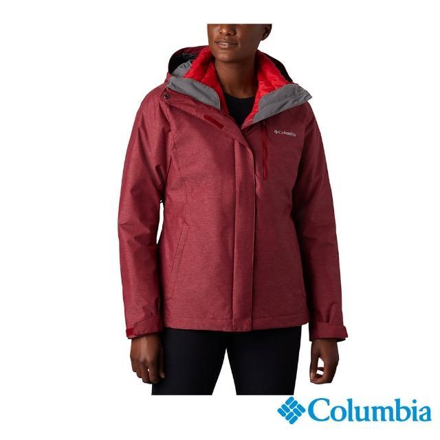 【Columbia 哥倫比亞】女款-Omni-Tech 兩件式防水保暖外套-紅色(UWR06350RD / 保暖.防水.長版)