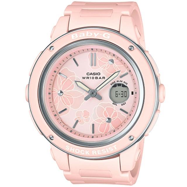 【CASIO 卡西歐】Baby-G 優雅花卉大錶面腕錶/粉(BGA-150FL-4A)