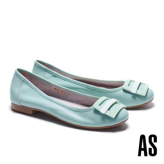 【AS 集團】百搭舒適烤漆方釦水染牛皮低跟鞋(綠)