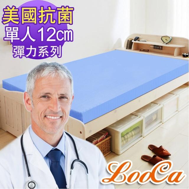 【送野餐袋】美國Microban釋壓12cm記憶床墊-LooCa(單人-共2色)