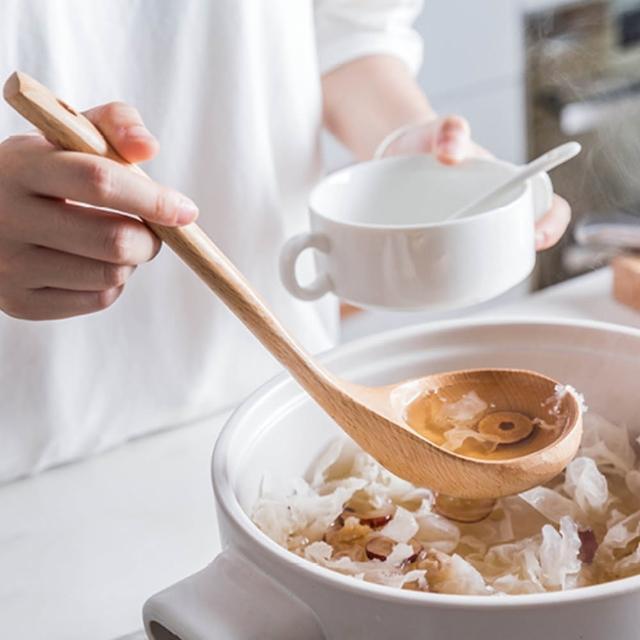 【小茉廚房】天然櫸木 湯勺 火鍋勺 不沾鍋 一般鍋具適用 原木製造 厚實耐用(可吊掛好收納)