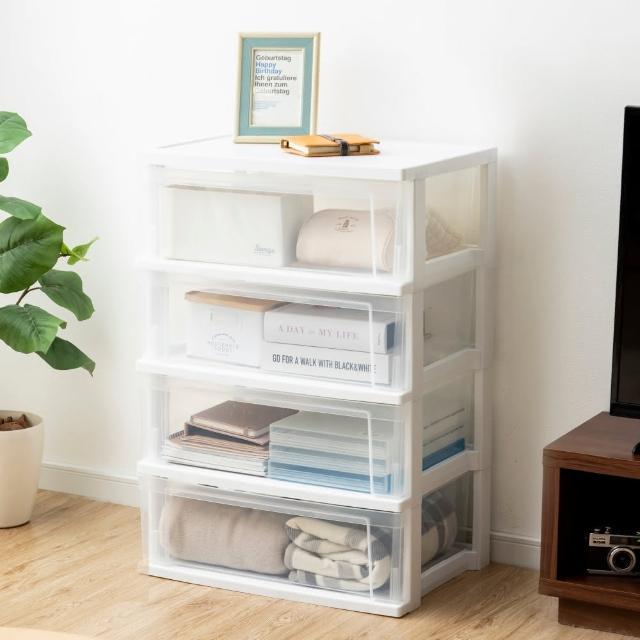 【Iris Ohyama】四層透明抽屜式收納櫃 NSW544(簡約透明收納櫃組合櫃)