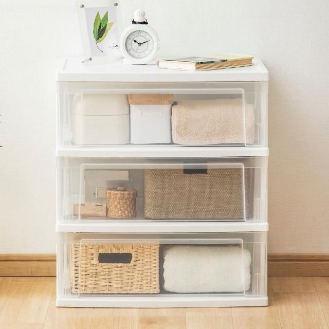 【Iris Ohyama】三層透明抽屜式收納櫃 NSW543(簡約透明收納櫃組合櫃)