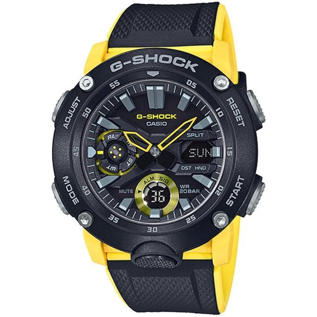 【CASIO 卡西歐】G-SHOCK 碳纖維防護雙顯手錶(GA-2000-1A9)