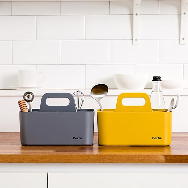 【LITEM 里特】Porta手提可堆疊整理盒/小/黃(收納盒/小物收納箱/手提式/居家寢室/可堆疊)