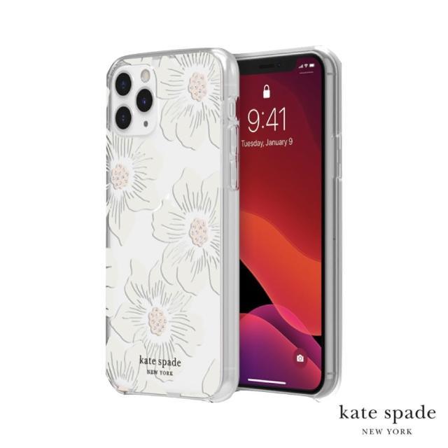 【Kate Spade】Hollyhock Floral iPhone 11 Pro 白色大花透明殼+小鑲鑽
