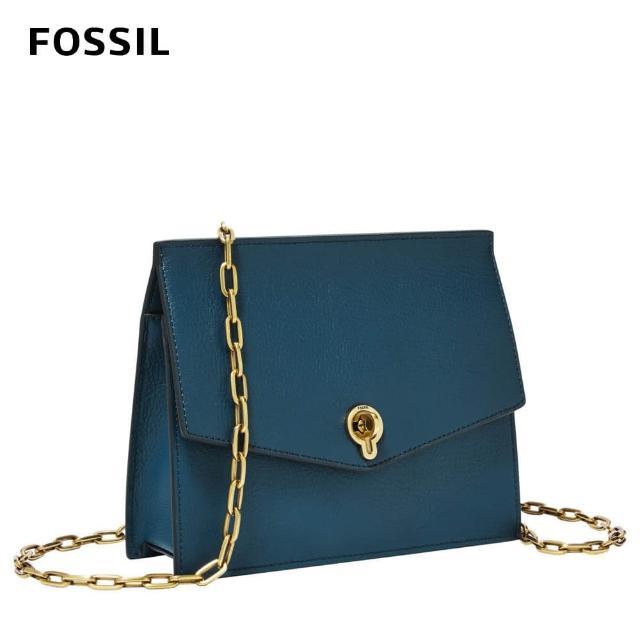 【FOSSIL】Stevie 優雅風尚皮革個性斜背小包-蔚藍 ZB7882497