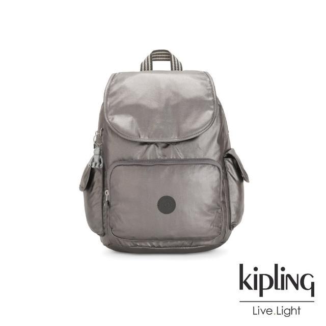 【KIPLING】低調質感金屬灰褐色拉鍊掀蓋後背包-CITY PACK