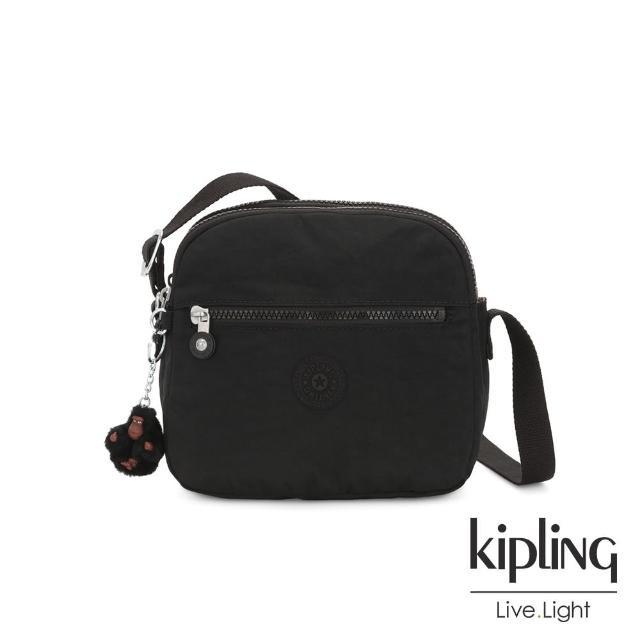 【KIPLING】質感黑多層隨身斜背包-KEEFE