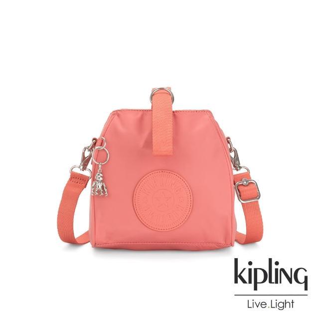【KIPLING】粉嫩珊瑚橘素面手提側背包-IMMIN
