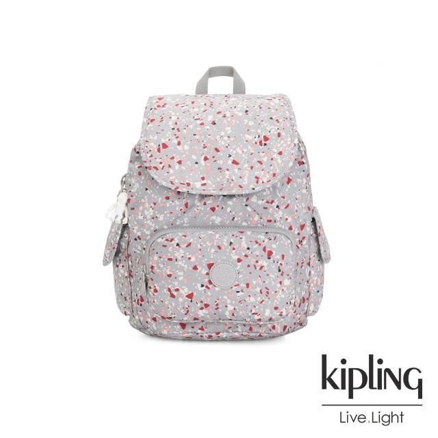 【KIPLING】繽紛水磨石圖樣拉鍊掀蓋後背包-CITY PACK S