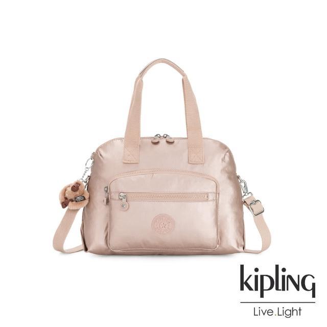 【KIPLING】金屬光玫瑰金大容量手提兩用斜背包-TRACY