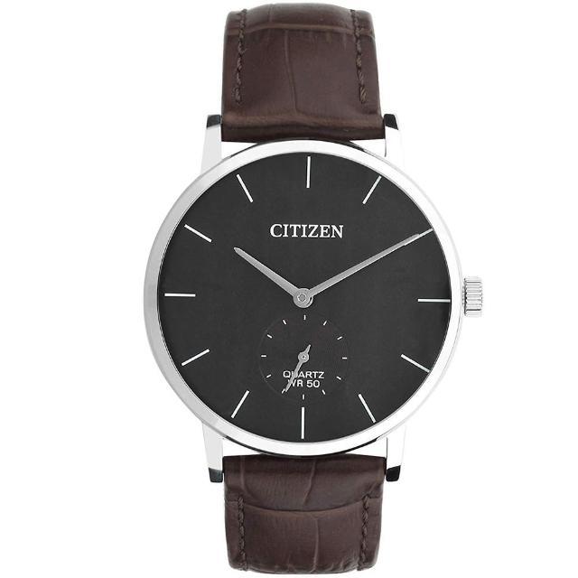 【CITIZEN 星辰】紳士簡約時尚手錶-咖啡皮帶(BE9170-13H)