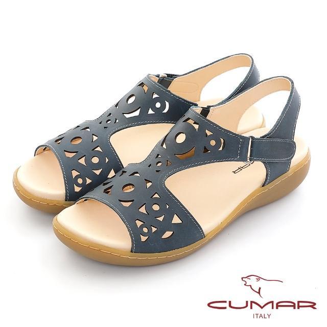 【CUMAR】雷射鏤空雕花腳床式涼鞋(深藍色)