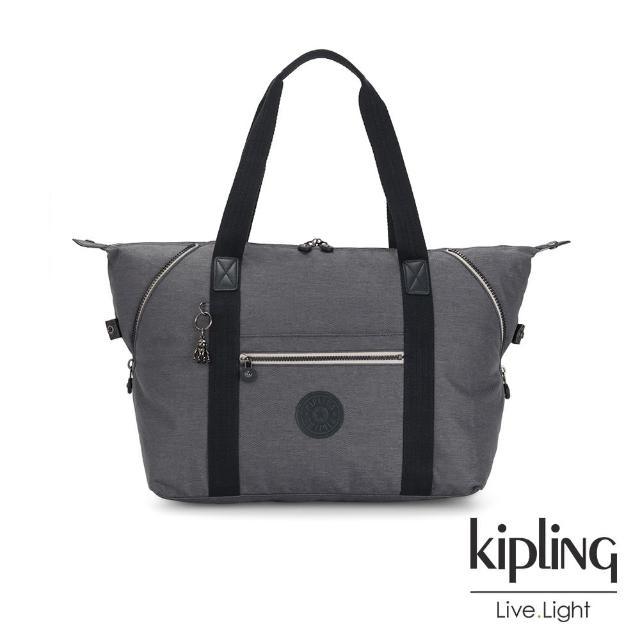 【KIPLING】沉穩丹寧灰手提側背包-ART M