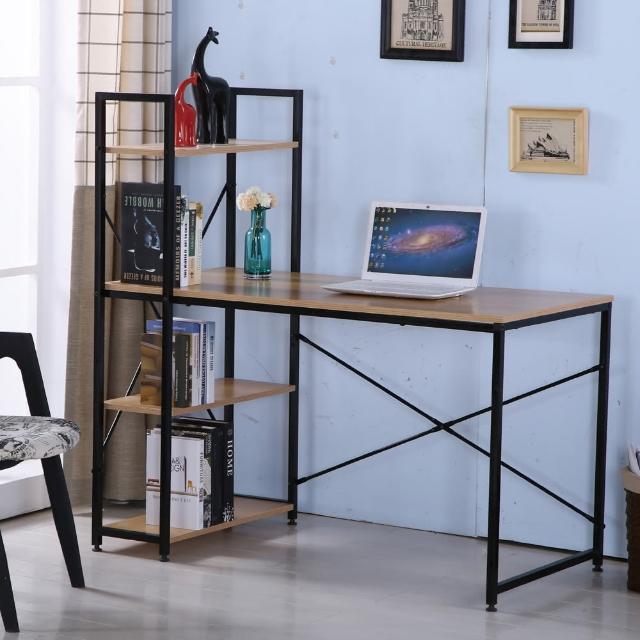 【AT HOME】艾美4尺本色黑腳書架型書桌(書架可左右對調/120x60x119cm)