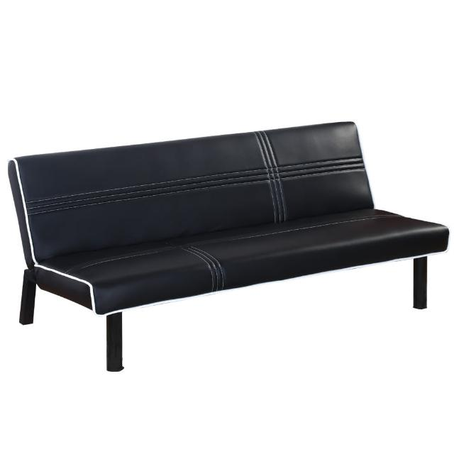 【AT HOME】艾咪黑皮沙發床(三段式調整/170x86x71cm)