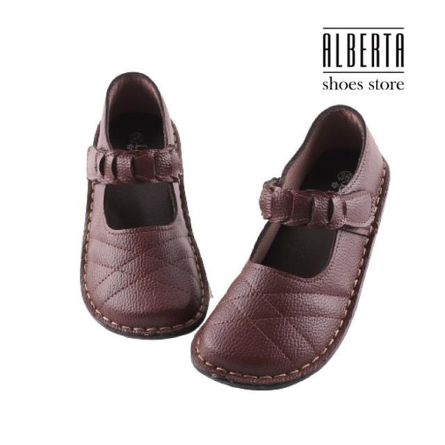 【Alberta】皮質鞋面純色簡約 舒適好穿 魔鬼氈休閒鞋 MIT台灣製
